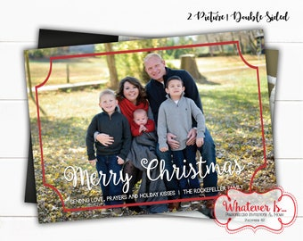 Simple Frame Family Picture Christmas Card | Picture Christmas Card | Family Christmas Card | Printable Christmas Card | Dr Seuss | 2 Photos