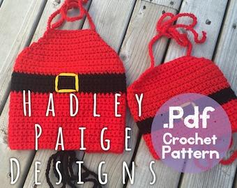NOELLE Santa Belt Top Crochet Pattern - 3 sizes infant, toddler & child. Holidays.  Christmas. Festive.  Boho kids.  Photography prop
