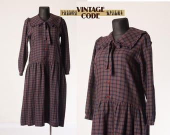 Purple Tartan Plaid Laura Ashley Dress / Cotton Wool Laura Ashley 80s dress / Autumn Casual Day dress / Large to Extra Large