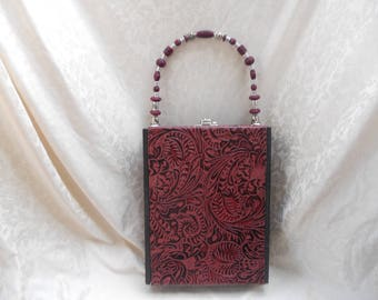 Cigarbox Purse, Pocketbook, Western Tooled Natural Leather, Tina Marie Purse Purse, Vintage, Cranberry, Dark Grey, Silver