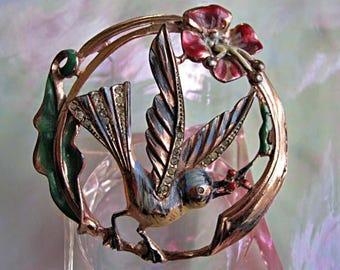 Sterling Bird Brooch CoroCraft, Rosegold Vermiel with Multi-Enamel Bird, Flowers, Leaves