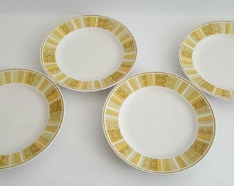 "S/4 Vintage Franciscan ""Antigua"" Bread Plates / Multi-color / Mid-Century Dish Set"