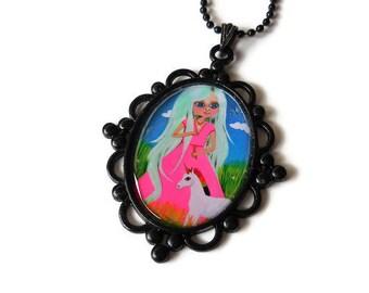 Unicorn Necklace, Unicorn Lover Gift, Kids Jewelry, Miniature Unicorn, Large Wearable Art, Ornate Pendant, Fantasy Necklace, Girl Necklace,