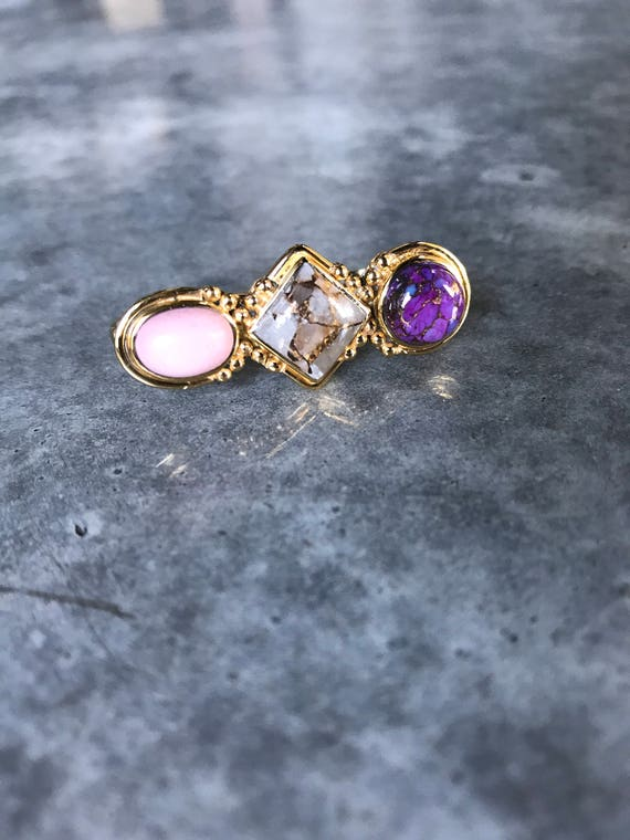 Double ring, purple Turquoise, pink opal, calciye gold plated silver ring