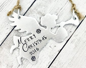 Christmas Ornament Personalized - Angel Ornament - 2017 Christmas Ornament - Christmas Tree Ornament - Hand Stamped Ornament