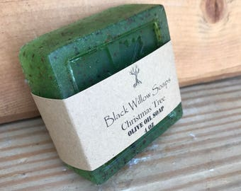 Christmas Tree Olive Oil Soap with Blueberry Seed Exfoliant, Handmade Men's Holiday Gift Soap