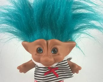 Vintage Treasure Troll Doll - Bright Turquoise Blue Hair in a Sailing Outfit - 1990s