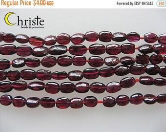 SALE Red garnet flat oval beads 9x6mm 6inch strand