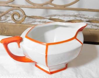 Altrohlau Czechoslovakia China Creamer MZ marked, Orange and White China, Vintage China, Vintage Dishes,  :)s*