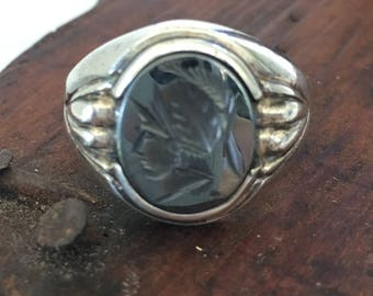 Vintage Art Deco Intaglio Ring Sterling Silver Clark & Coombs Hematite Spartan Ring SZ 10 Mens Signet Ring