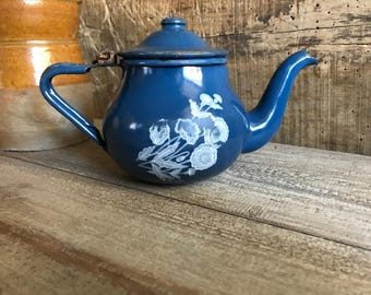 French Blue Enamel Tea Pot, Rustic French Country Farmhouse Lidded, Chippy Shabby Chic