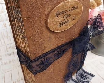 Navy blue, Blush, Gold Rustic Wedding Guest Book, Rustic Photo album, Personalized Wedding guest book , Custom Wedding Photo Booth album