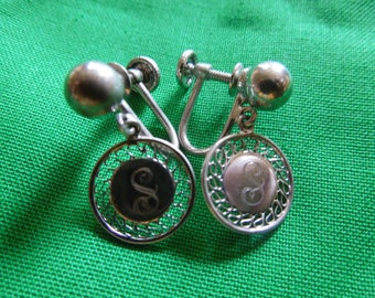 Vintage Silver Earrings, Screw Back, Letter S, Stamped Sterling and Hallmarked Ballou, Beautiful Condition.