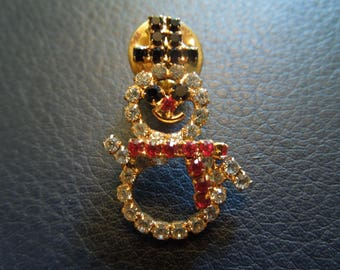 Vintage Christmas Pin.  Snowman in White, Black, Red Rhinestones.  Excellent Condition.