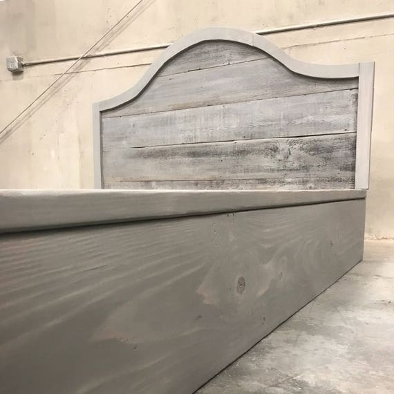 "The Sharon grey driftwood finished platform bed with arched horizontal recycled reclaimed wood 45"" headboard"