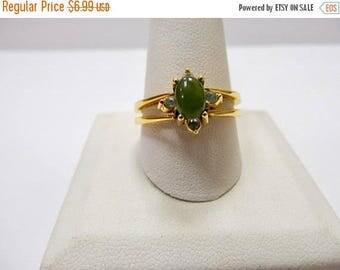 On Sale AVON Reversible Green and Black Rhinestone Ring Item K # 2202