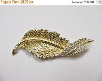 ON SALE Vintage Rhinestone Swirling Leaf Pin Item K # 1858