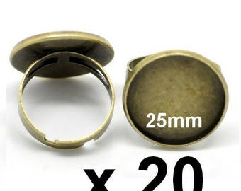 20 support ring bronze cabochon fimo ring wide x 20 or 25mm