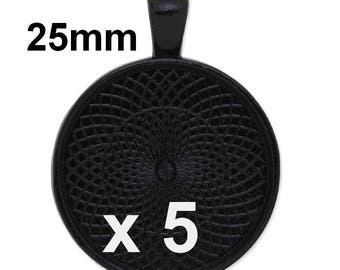 5 supports black metal pendant round 25mm cabochon