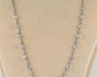 Late Art Deco 6.20 Ct old mine cut diamond stunning riviere necklace