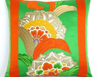 Large Oriental Decorative Pillow Cushion in Emerald Green, Metallic Gold & Orange stylised Flower made from a rare Japanese Obi belt.