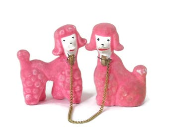 Pair Pink Poodle Dogs Flocked Ceramic Figurines 1950's era Miniature Dogs
