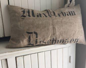 OOAK Antique German Grainsack Primitive Pillow