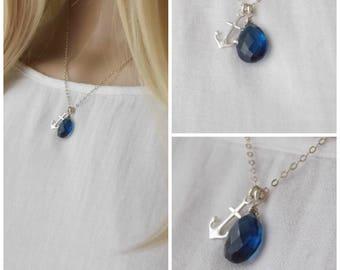Sterling Silver Dark Blue Quartz Anchor Necklace. Navy Blue, Sterling Anchor, Anchor Necklace