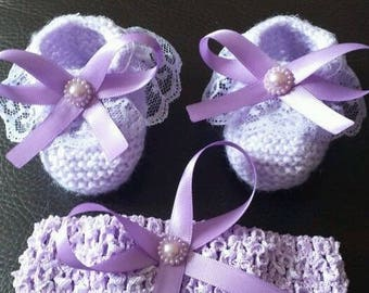 hand knitted baby girl shoes & headband / baby girl booties set lilac newborn