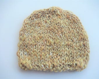 hand knitted baby hat / baby girl cap / gold and sparkling hat  0-3 month