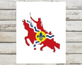 St Louis Statue Flag Print, STL, St Louis, Saint Louis Statue, STL Art, Art Hill, St Louis Missouri, Saint Louis MIssouri