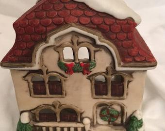 Christmas  Cottage Candle Holder