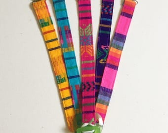 6 Pack Assorted Pacifier Teether Clips- FALL COLORS, Paci Holder, Mexican Cambaya fabric, Serape