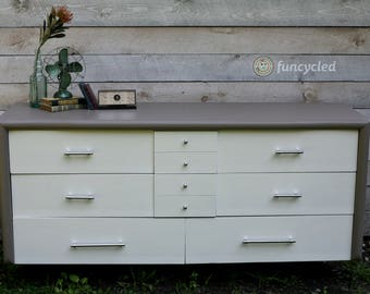 Gray and White Dresser and End Stand