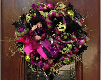 Pretty Witch and Crow Halloween Wreath