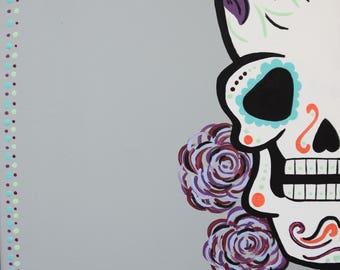 Sugar Skull Painting, Sugar Skull Art, Day of the Dead Art, Dia De Los Muertos, 12x12 Inch Painting, Skull Painting, Skull Art, Original Art