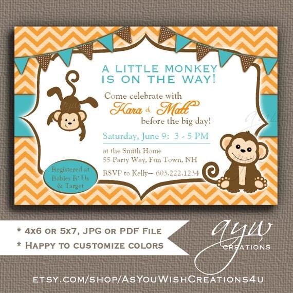 Baby shower invitations monkey boy printable invitations twins il570xn filmwisefo