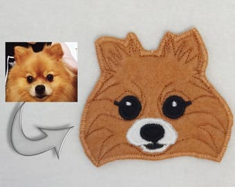Dog Custom Patch. Handmade Dog Portrait. Textile Art. Pomeranian Patch.