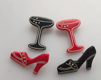 1970s Vintage SCATTER PINS Lucite Figural Pins DISCO Pins Red and Black Acrylic Pins Lucite Brooches Champagne Glass Platform Heel Shoe