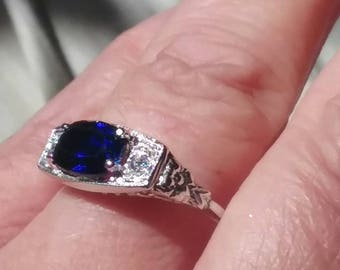 Antique Style Engagement Ring, Right Hand Ring, Sapphire Engagement Ring, Art Nouveau Engagement Ring