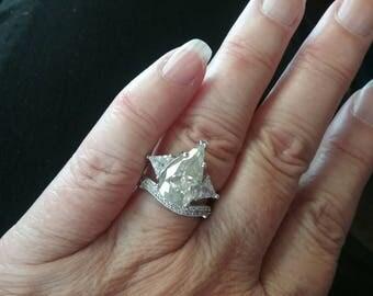 Moissanite Engagement Ring,  Pear Shaped Engagement Ring, Pear Shaped Moissanite