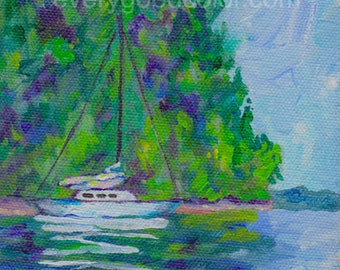 seascape anchored sailboat giclee print choose your size Peggy Johnson Every Good Color