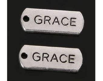 8 Grace Charms Tags Silver Tone 21x8mm