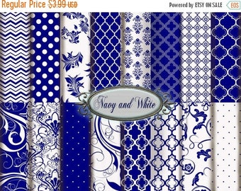 SALE Navy Digital Paper: Navy and White Printable Paper Pack, Navy Floral and Navy Polka Dots, Navy and White Scrapbooking Paper