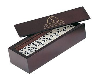 Engraved Family Name Domino Set in Rosewood Box