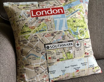 Pillow cover London map fabric cushion cover cotton pillow cover 16 inch