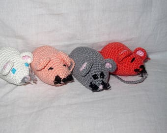 Amigurumi Cotton mice various colors