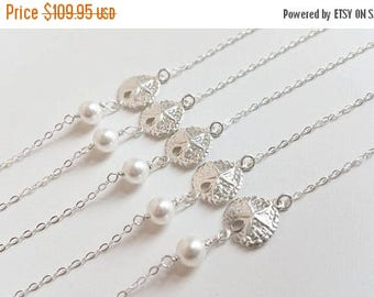 ON-SALE FIVE Set Sand Dollar and Pearl Sterling Silver Necklace, Bridesmaids Gifts, Flower Girl, Jr. Bridesmaids