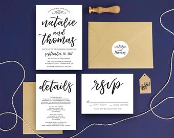 Calligraphy Wedding Invitation Suite Printable Details and RSVP Card - Calligraphy Invitation Modern Wedding Invitation Set