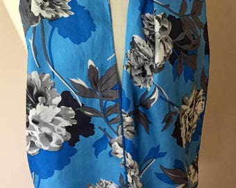 Vintage Bill Blass Silk Scarf Long Scarf Blue With Black White Flowers